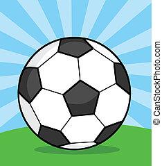 labda, futball, fű, ábra