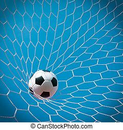 labda, futball kapu, fogalom, siker
