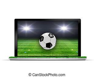 labda, futball, laptop