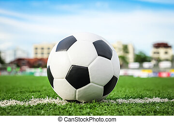 labda, futball, zöld fű