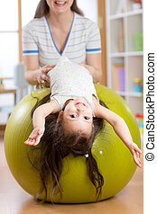 labda, gimnasztikai, állóképesség, anya, leány, kölyök
