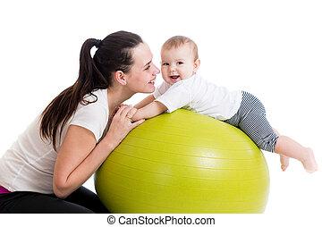 labda, gimnasztikai, csecsemő, anya, móka, birtoklás