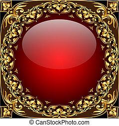 labda, gold(en), motívum, elvont, pohár, háttér