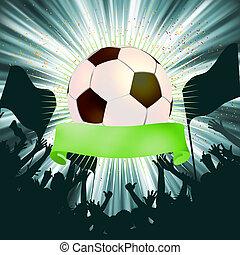 labda, grunge, eps, háttér., 8, futball