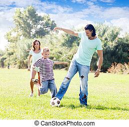 labda, három, család, játék