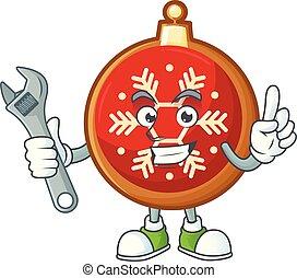 labda, karácsony, character., karikatúra, szerelő, piros