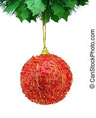 labda, karácsony, piros, elszigetelt