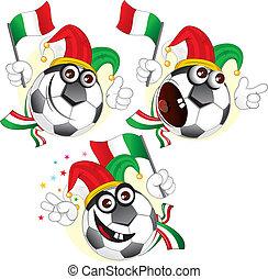 labda, karikatúra, olasz