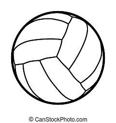 labda, klasszikus, röplabda, vektor, ábra, fehér