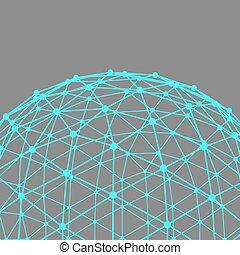 labda, lattice., dots., megvonalaz, polygonal, háttér.,...