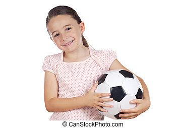 labda, leány, futball, birtok