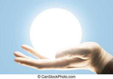labda, megvilágít, hatalom kezezés