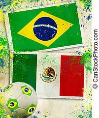 labda, mexikó, brazília, futball, fogalom, vs