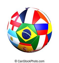 labda, noha, zászlók