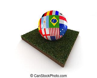labda of, világ, futball, csésze