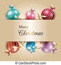 labda, színes, arany, elpirul háttér, karácsony