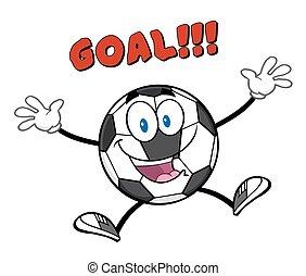 labda, ugrás, noha, szöveg, gól