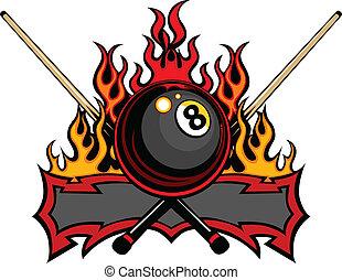 labda, vektor, nyolc, biliárdjáték, lángoló
