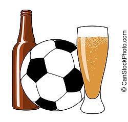 labdarúgás, és, sör