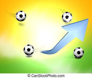 labdarúgás, brasil, noha, nyíl, képben látható, fény, elpirul háttér
