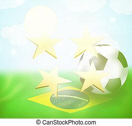 labdarúgás, csillaggal díszít, tervezés, brasil, lobogó