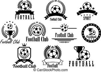 labdarúgás, emblémák, fekete, fehér, futball, vagy