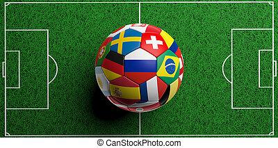 labdarúgás, focilabda, noha, világ, zászlók, képben látható, zöld fű, háttér., 3, ábra