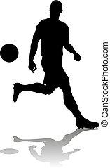 labdarúgás, futball, árnykép, játékos