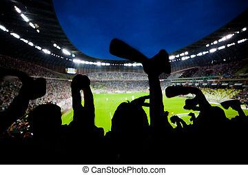 labdarúgás, futball, rajongó, eltart, -eik, befog, és, ünnepel