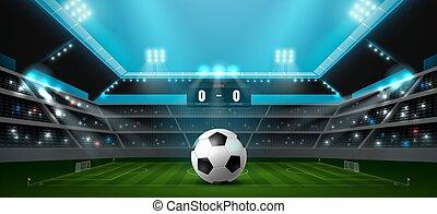 labdarúgás, futball, reflektorfény, stadion
