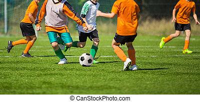 labdarúgás, futballmeccs, helyett, children., gyerekek, játék futball, játék, lovagi torna