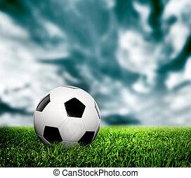 labdarúgás, soccer., egy, megkorbácsol, labda, képben látható, fű, lawn.