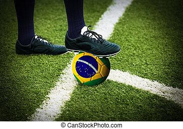labdarúgás, vagy, focilabda, -ban, a, kickoff, közül, egy, játék