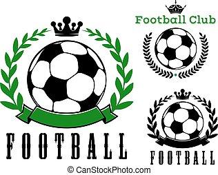 labdarúgás, vagy, futball, klub, jelvény, tervezés
