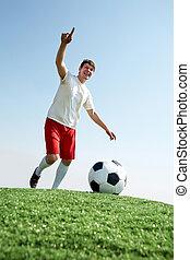 labdarúgó, közben, játék