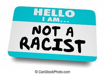 label, 3d, naam, sticker, niet, protesteerder, animatie, racist, hallo