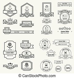 Label And Ribbon template design set line style