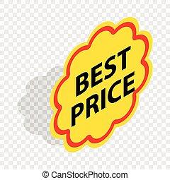 Label best price isometric icon