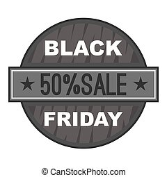 Label black friday fifty percent sale icon