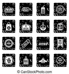Label black friday icons set, grunge style