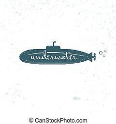 Label blue submariner, vector illustration