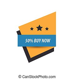 label Buy now And 3 Star Blue, yellow, black