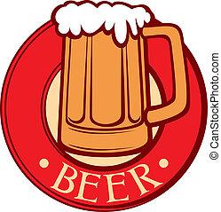 label), cerveza, (beer, jarra