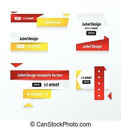 Label Collection of Sale Discount red, yellow, black color