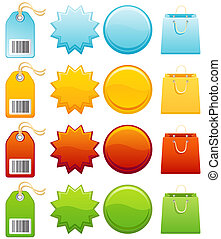 Colourful label icon set