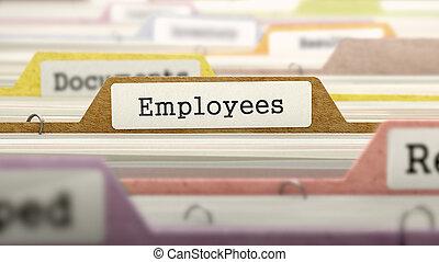 label., concept, employés, fichier