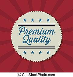 Label design over red background, vector illustration