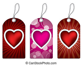 Label design set with hearts