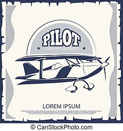 Label design - vintage poster airplane