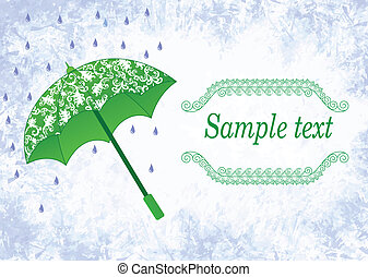 label design with a green umbrella